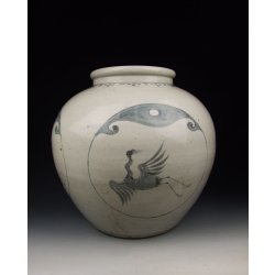 Yuan Dynasty Blue Underglaze Decoration Porcelain Pot With Immortal Crane and Ba-gua Pattern(B&W)