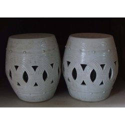 Pair Of Lovely-White Glaze Porcelain Garden Stools With Flower Pattern Ming Dynasty YongLe Reign