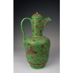 Ming Dynasty XuanDe Imperial Ware Brown&Green Coloring Porcelain Pitcher With Phoenix Pattern