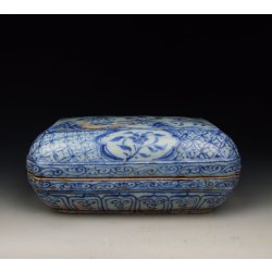 Ming Dynasty ChongZhen Reign Blue Underglaze Decoration Porcelain Ink Box(B&W)