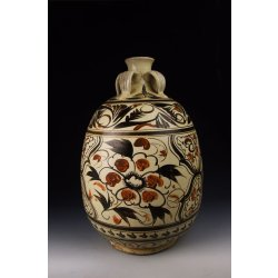 Large Yuan Dynasty Cizhou Ware Persimmon&Black Coloring Porcelain Vase With Four Loop Handles Design