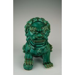 Qing Dynasty Dehua Ware Peacock-Green Glaze Porcelain Foo Dog