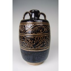 Yuan Dynasty Cizhou Ware Sgraffiato Black Glaze Porcelain Vase with looped handles