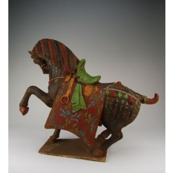 Tang Dynasty Painted Black Pottery War Horse