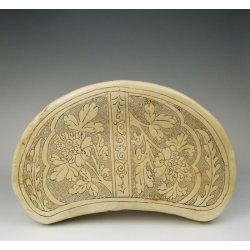 Yuan Dynasty Cizhou Ware Porcelain Head-rest with incised flower pattern on pearl background