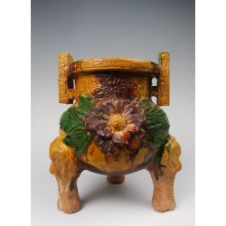 Liao Dynasty Tricolored Pottery Incense Burner with Flower Applique Design