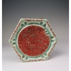 One Fine Five-colored Porcelain InkStone dated to Mid - Qing Dynasty Period