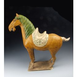 One Painted Tri-colored Pottery War Horse Statue Tang Dynasty