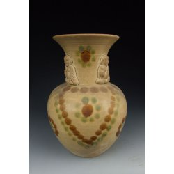 One Changsha Ware Yellow Glazed Pottery Vase with Brown&Green Splash and Applique Design Tang Dynasty