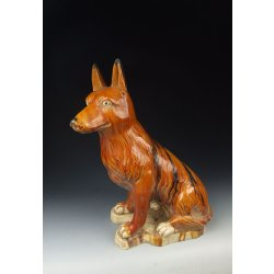 One Tri-colored Pottery Dog Statue Tang Dynasty
