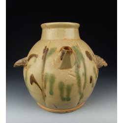 One Changsha Ware Bird-shaped Pottery Wine Pot with underglaze decoration Tang Dynasty