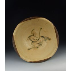 One Changsha Ware Pottery Bowl with underglaze bird decoration Tang Dynasty