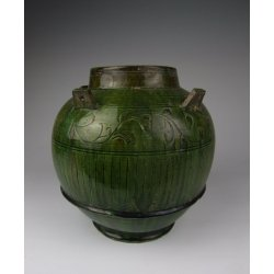 One Green Glazed Pottery Vase with incised flower pattern Tang Dynasty