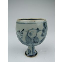 One Blue Underglaze Decoration Porcelain Stem-foot Wine Cup with ancient figures pattern Later Ming Dynasty