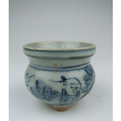 One Blue Underglaze Decoration Porcelain Tripod Incense Burner with ancient figures pattern Later Ming Dynasty
