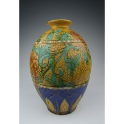 One Tri-colored Pottery Vase with incised flower pattern on pearl background Ming Dynasty