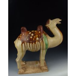 One Large Tri-colored Pottery Camel Statue Tang Dynasty