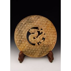 One Carved Jade Bi Disk with Beast Pattern from Spring&Autumn Period