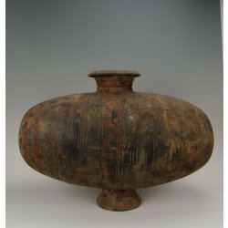One Painted Gray-Pottery Cocoon-shaped Pottery Pot Han Dynasty