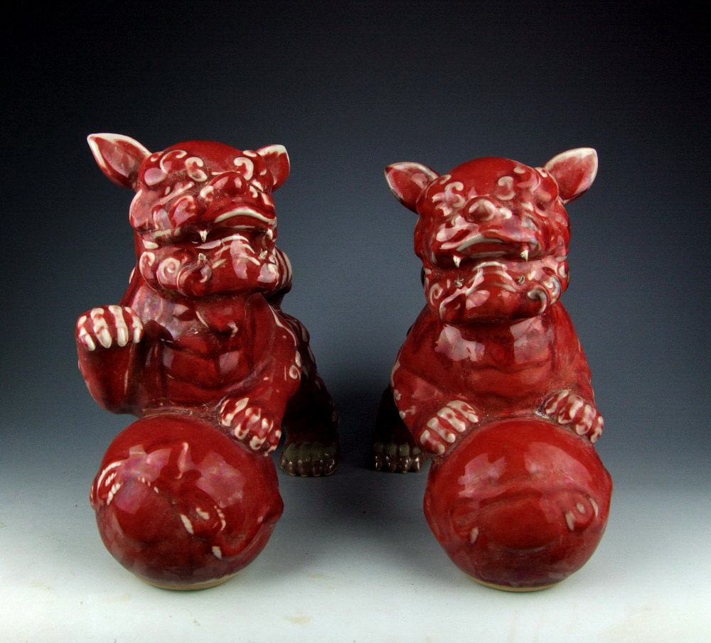 Red Glazed Porcelain Foo Dogs Playing