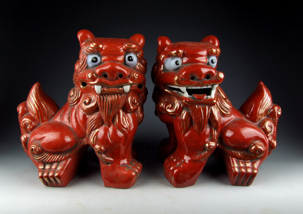 Red Glazed Porcelain Foo Dog Statues