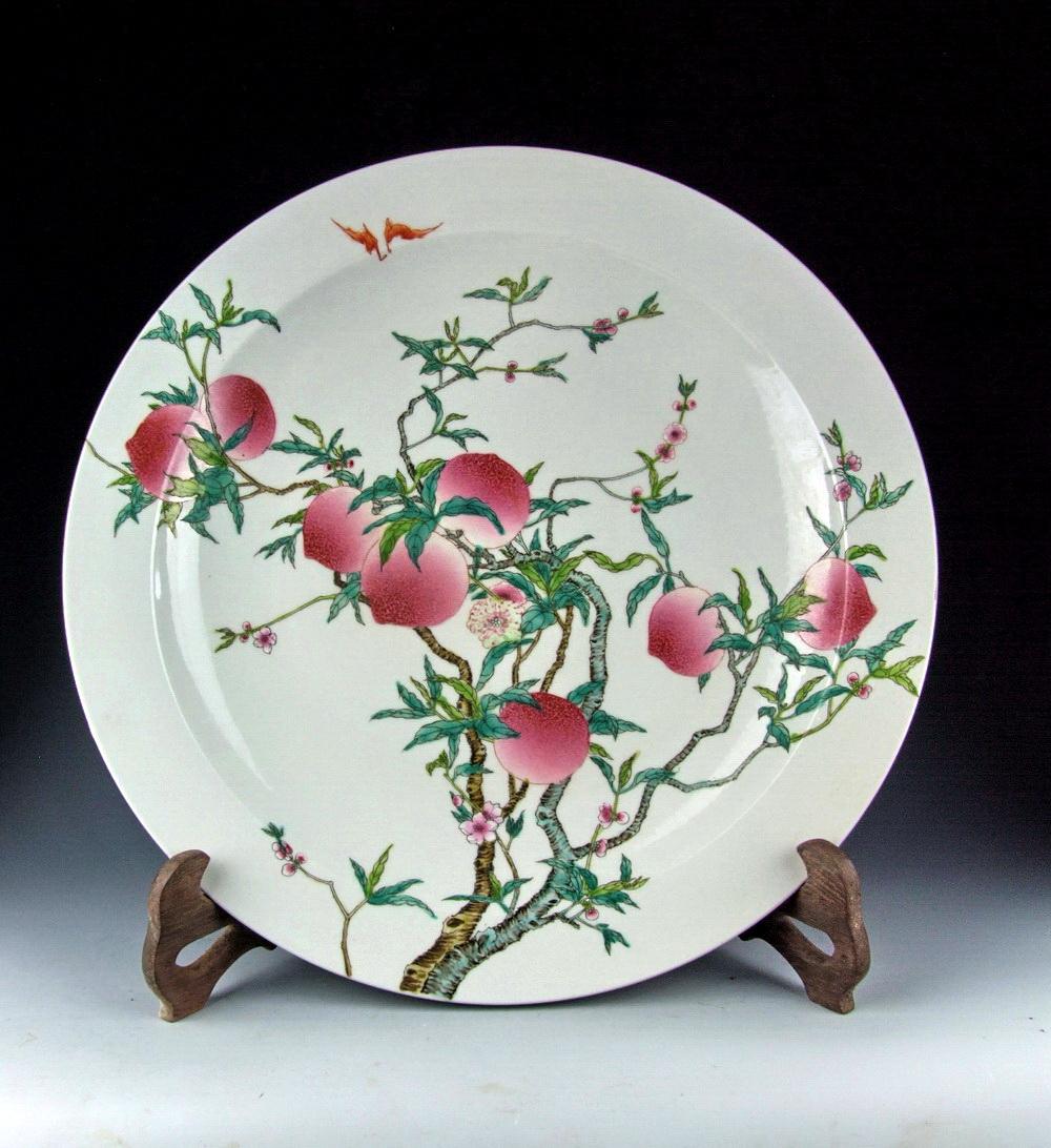 Image is loading Amazing-China-Antiques-Famille-Rose-Porcelain-Plate-with- & Amazing China Antiques Famille Rose Porcelain Plate with Peach Motif ...